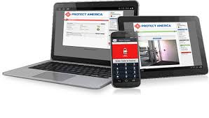 Laptop, iPhone and ipad displaying Protect Americas account control