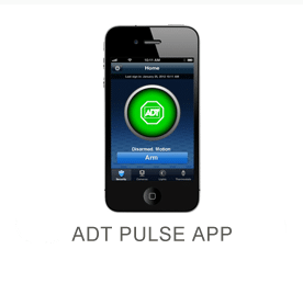 Black iPhone displaying ADT Pusle app