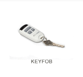 White and gray security remote keyfob.