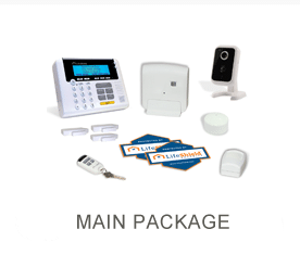 Lifeshields main package with camera, sensors, panel and motion detector.