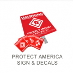 Red and white WARNING signs.