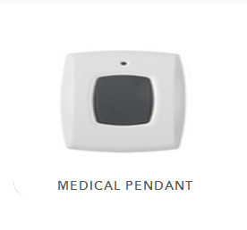 Vivint's one touch medical pendant. White with grey button