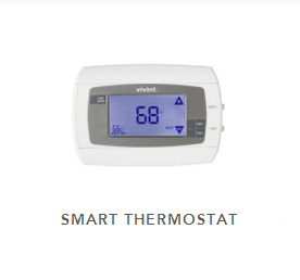 Proprietary smart thermostat displaying 68 degrees