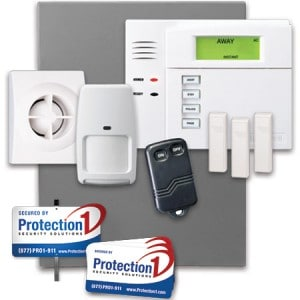 Protection Ones main security package with images of motion, window sensors, panel and keyfob