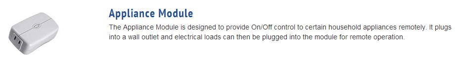Picture and description of appliance module