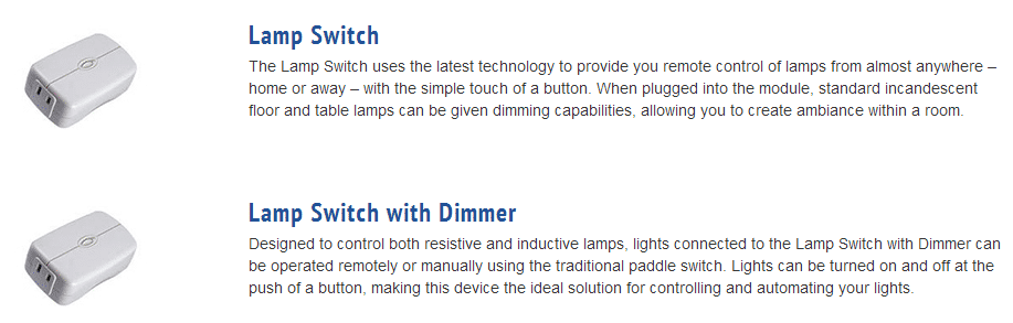 Description of two lighting modules with module picture