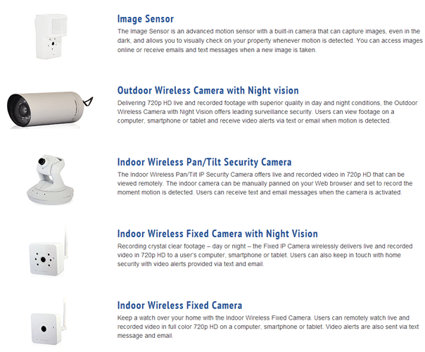 List of 5 Security Cameras used by Monitronics, with pictures and descriptions of each