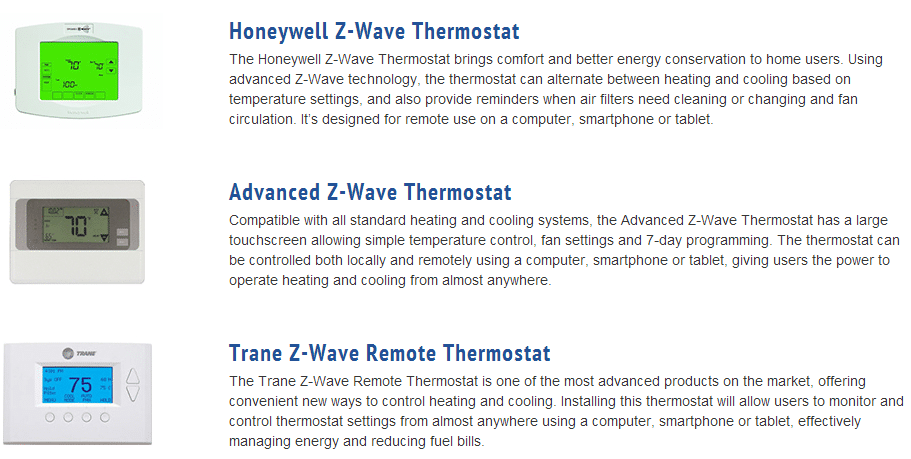 List of pictures and descriptions of 3 Z-Wave thermostats used by Monitronics