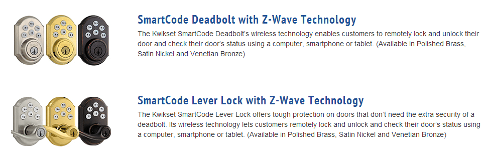 Pictures and descriptions of SmartCode Door Locks