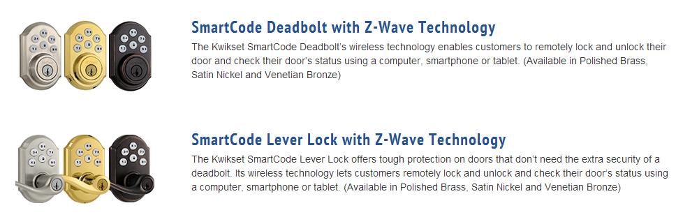 Pictures and descriptions of SmartCode Door Locks