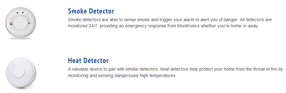 Smoke and Heat Sensors with descriptions