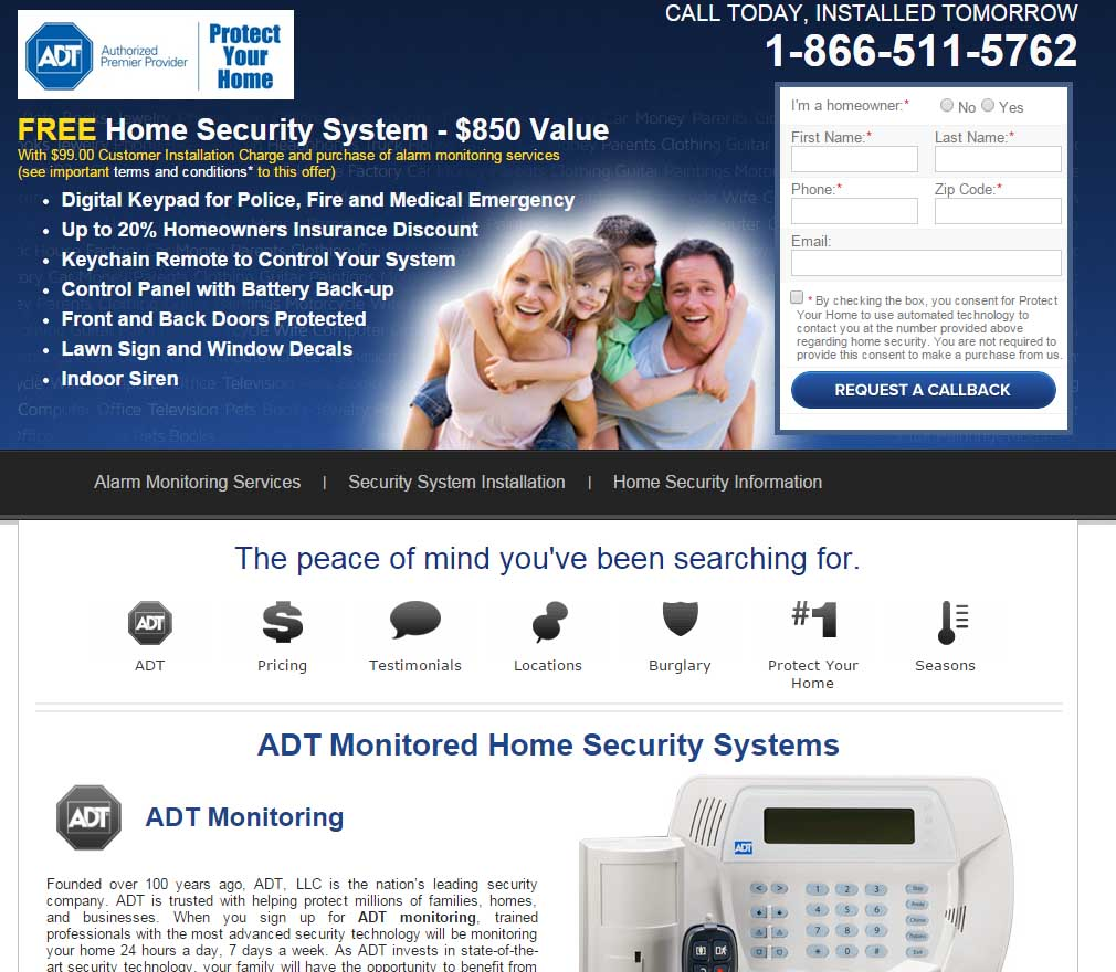 ADT Website Screenshot