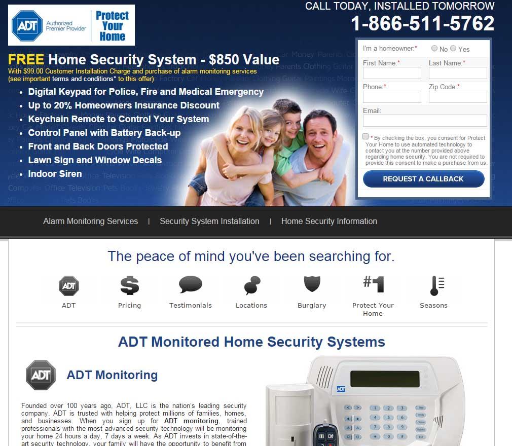 ADT Website Screenshot