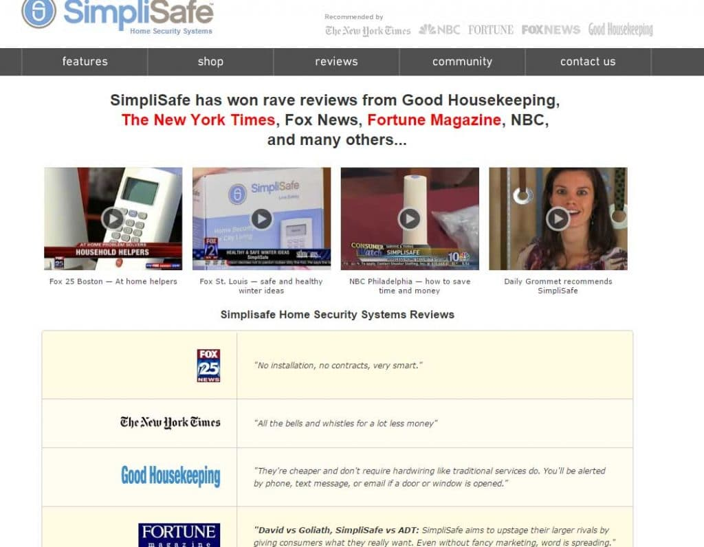 SimpliSafe Website Screenshot