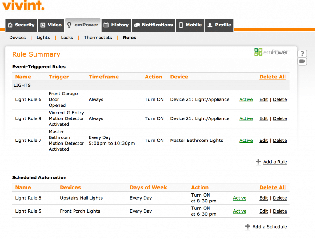 screenshot of vivint account control
