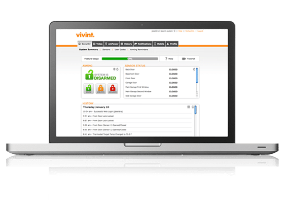 vivint security system control on laptop