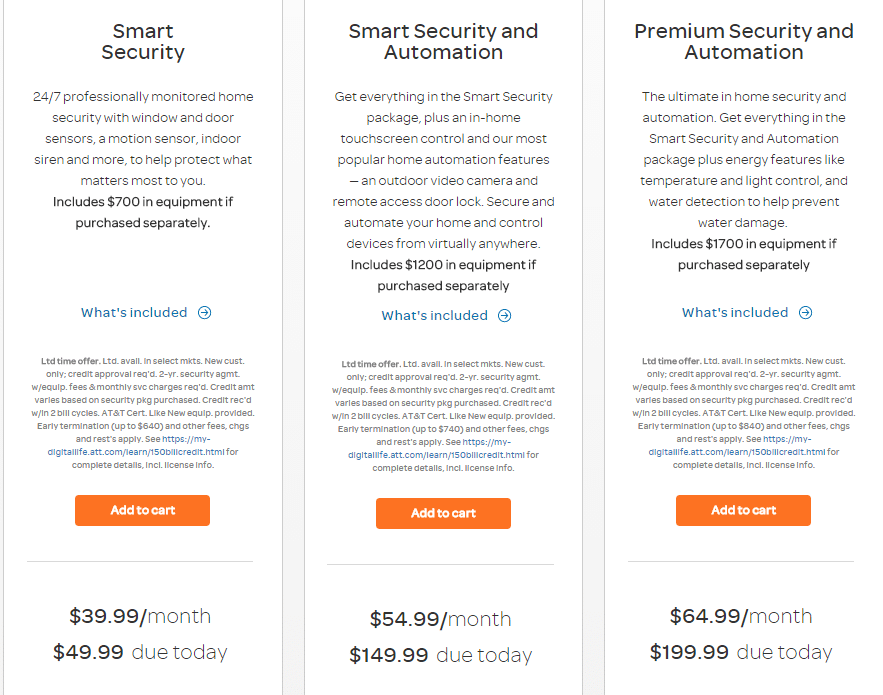 AT&T digital life packages