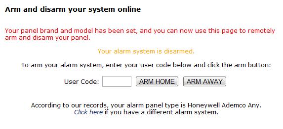arm and disarm online nextalarm