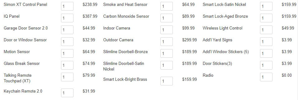 Frontpoint security system pricing list