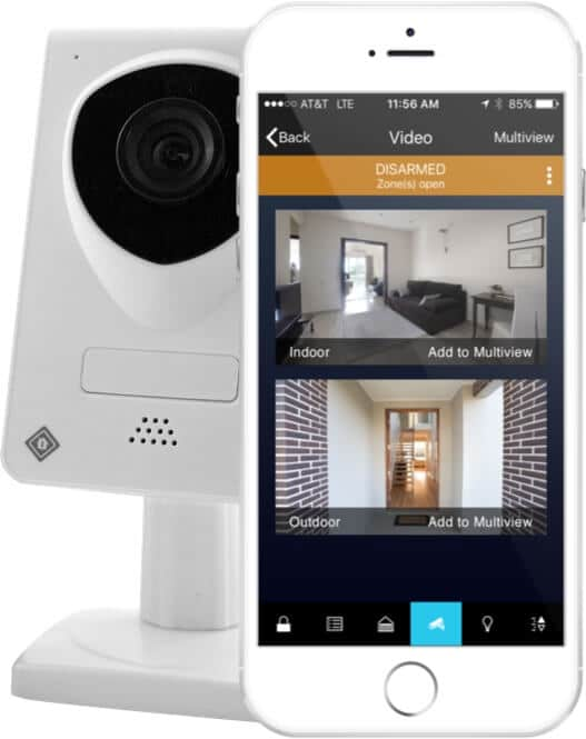 protect america app on smartphone with security camera