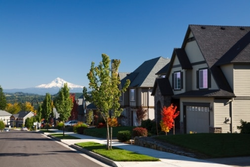 Autumn Colors Along A Street With New Homes And A View Of Mount Hood