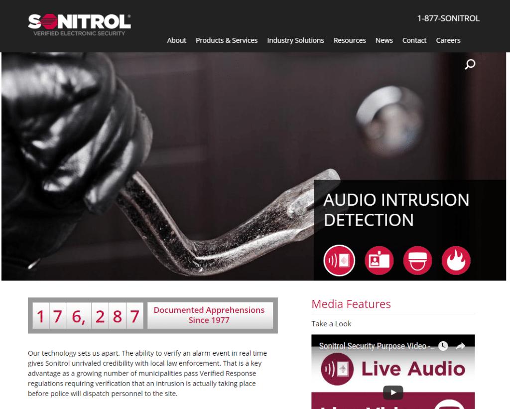 Sonitrol website screenshot
