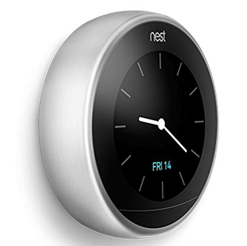 nest thermostat showing clock