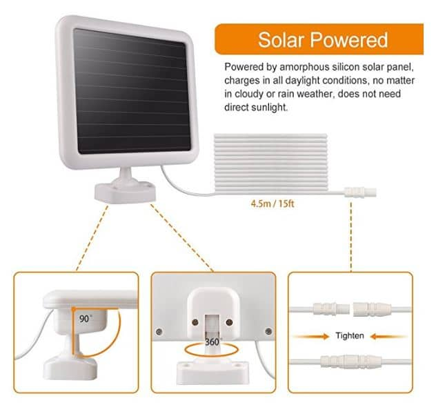 solar specs for the Lepower outdoor LED security light